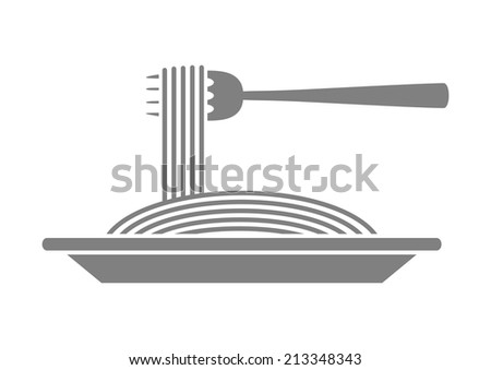 Grey spaghetti icon on white background - stock vector