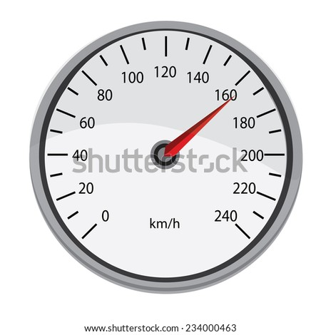 Grey speedometer, speedometer vector, speedometer icon, isolated on white - stock vector