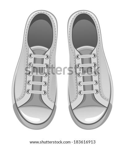 Grey sport shoes - stock vector