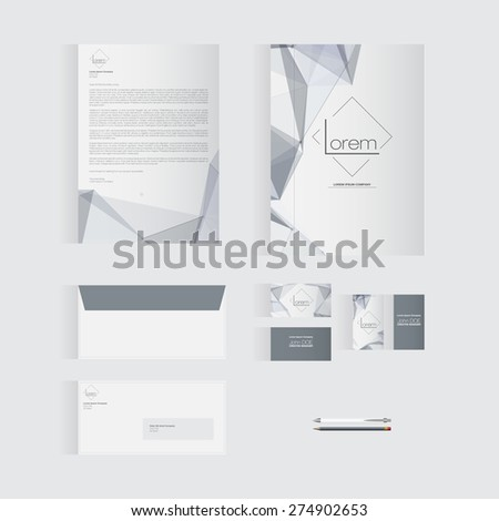 Grey Stationery Template Design for Your Business | Modern Vector Design - stock vector