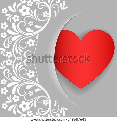 Grey Valentines Day card with red heart shape and white floral pattern vector template. - stock vector