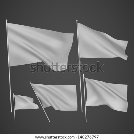 Grey vector flags. A set of 5 wavy 3D flags created using gradient meshes. EPS 8 vector - stock vector