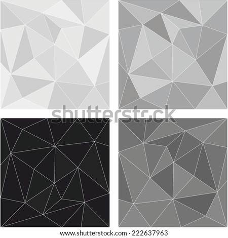 Grey, white and black triangle vector background or chevron surface pattern set - stock vector