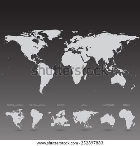 Grey World Map on black background vector Illustration - stock vector