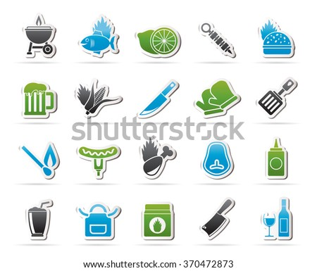Grill and Barbecue Icons - vector icon set - stock vector