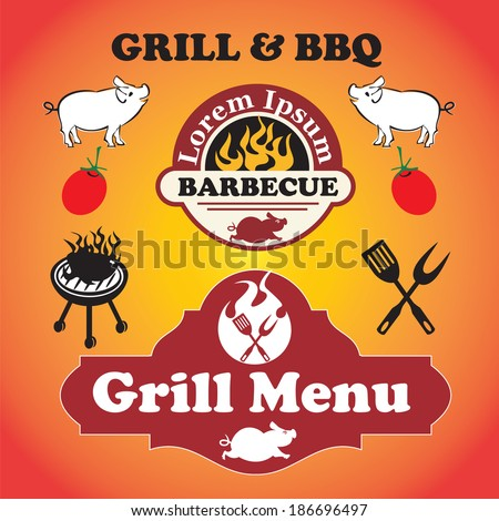 Grill and barbecue signs, symbols and labels - stock vector