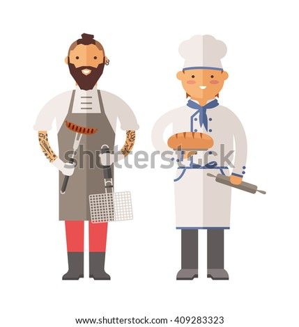 Grill chef and baker chef characters vector illustration. Smiling chefs cooking. Happy chefs illustration. Baker character chef. Grill chef character. Grill chef and baker chef happy man. - stock vector