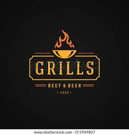 Grill Design Element in Vintage Style for Logotype, Label, Badge and other design. Fire flame retro vector illustration. - stock vector