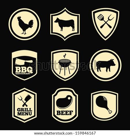 grill menu over black background vector illustration - stock vector