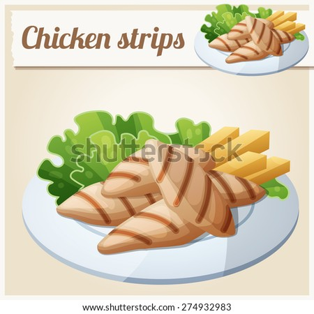 Grilled chicken strips. Detailed Vector Icon. Series of food and drink and ingredients for cooking. - stock vector
