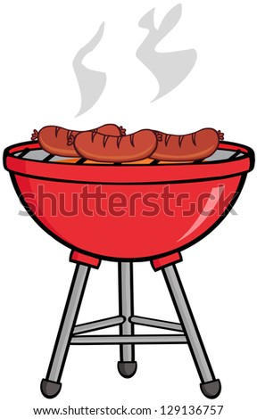Grilled Sausages On Barbecue - stock vector