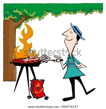 grilled steak - stock vector