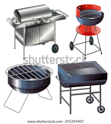 Grilling sets on a white background  - stock vector