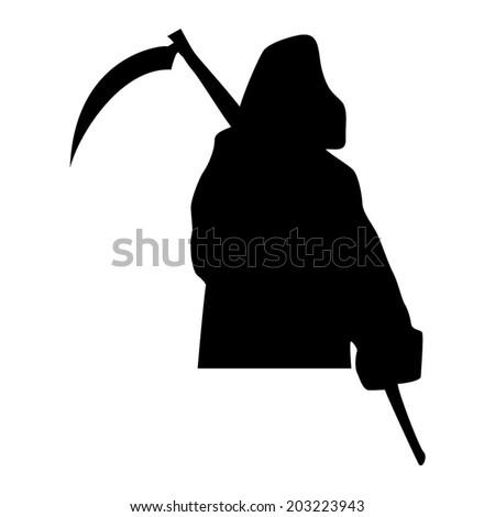 Grim Reaper Silhouette Vector Drawing - stock vector