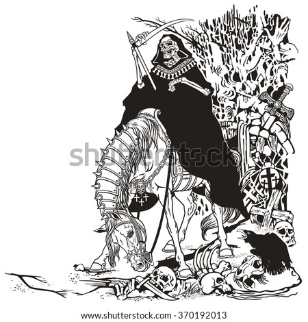 grim reaper symbol of death and time sitting on a horse and holding scythe in old cemetery . Black and white illustration - stock vector