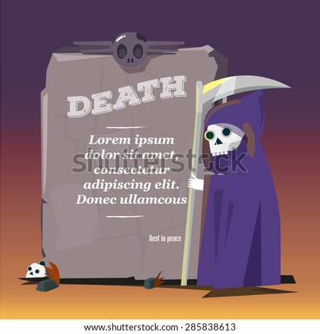 Grim Reaper with stone of death. presenting. character design - vector illustration - stock vector