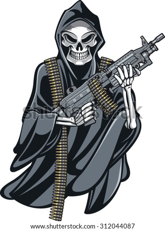 grime reaper holding machine gun - stock vector