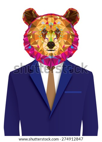 grizzly bear man in geomeyric pattern - stock vector