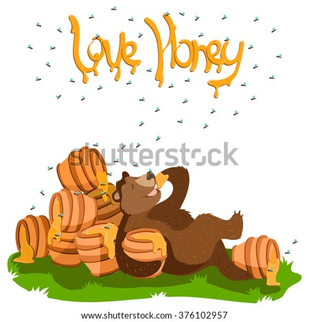 Grizzly Lazy Brown Bear vector illustration,  like eating honey. laying on the grass and eating the honey from the pot. Bees are flying around words Love Honey. Sweet Honey concept elements.  - stock vector