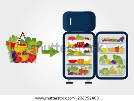Grocery basket full of fruits and vegetables and arrow pointing to the fridge full of fruits and vegetables. Purchases. Preserving food. No meat and no dairy products. Buying fruits and vegetables - stock vector