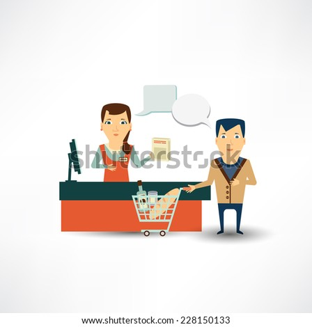 grocery store cashier at work - stock vector