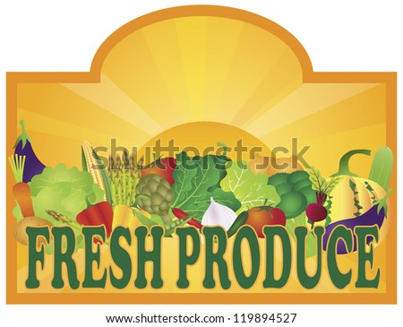 Grocery Store Fresh Produce Colorful Vegetables and Sun Rays Signage Illustration Vector - stock vector