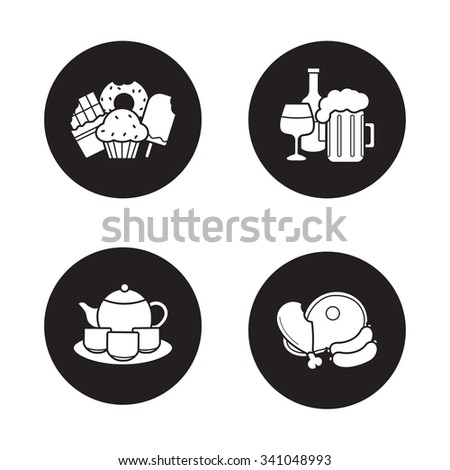 Grocery store products black icons set. Confectionery, alcohol beverages, Chinese tea ceremony set, teapot with teacups, raw meat. Food and drinks white silhouettes illustrations. Vector logo concepts - stock vector