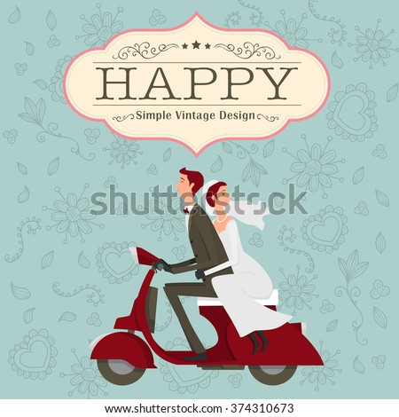 Groom and bride character wedding invitation card template modern design flat icon for marriage. isolated on blue background. graphic vector illustration. married concept. - stock vector