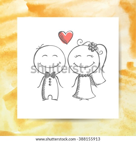 groom and bride, vector hand drawn wedding couple on white paper page with watercolor background - stock vector