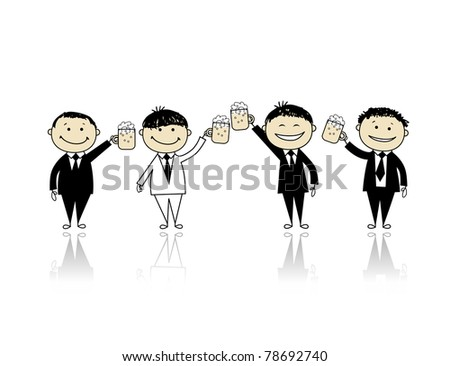 Groom with friends, stag party for your design - stock vector