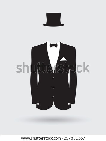 grooms suit jacket outfit - stock vector