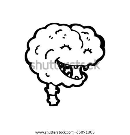 gross brain cartoon - stock vector