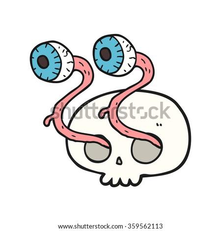 gross freehand drawn cartoon skull with eyeballs - stock vector