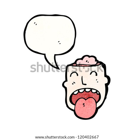 gross open brain head cartoon - stock vector