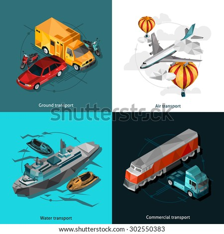 Ground air water and commercial transport low polygonal icons set isolated vector illustration   - stock vector