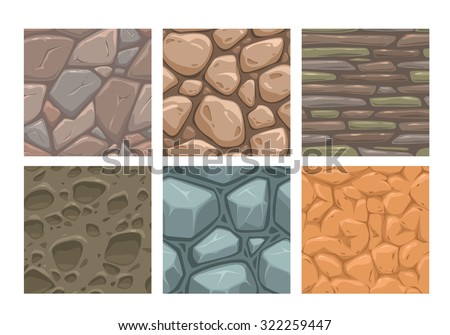 Ground seamless patterns set, vector stone textures collection - stock vector