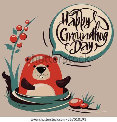 Groundhog Day.Handdrawn typography.Brush script.Vector marmot. - stock vector