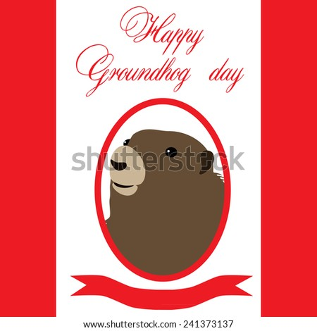Groundhog day illustration,  symbol of groundhog day with text - stock vector