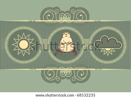 Groundhog day . Vector graphic postcard background - stock vector