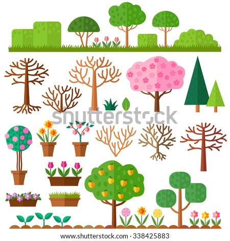 Grounds, Soil and Grass. Blooming plant in flower pot. Tree without leaves on white background. Set of flat trees. Vector illustration. - stock vector