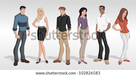 Group cartoon business people. Teenagers. - stock vector