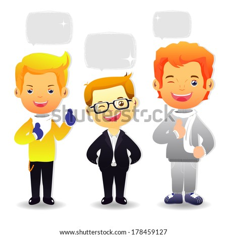 Group cartoon business people.Teenagers on white background - stock vector