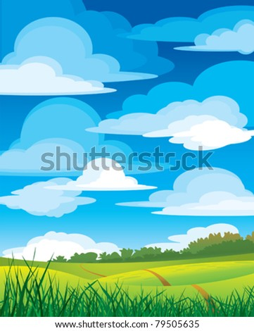 Group clouds on blue sky and green meadow with road - stock vector