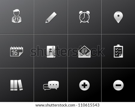 Group collaboration icon series in metallic style - stock vector