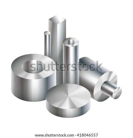Group metal steel objects forging. Vector illustration. EPS 10. - stock vector
