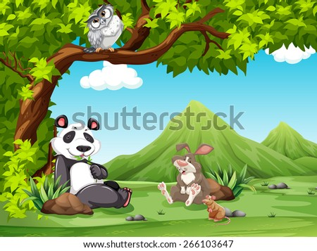 Group of animals relaxing under a tree  - stock vector