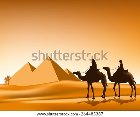 Group of Arab People with Camels Caravan Riding in Realistic Wide Desert Sands in Great Pyramid of Giza in Egypt. Editable Vector Illustration - stock vector