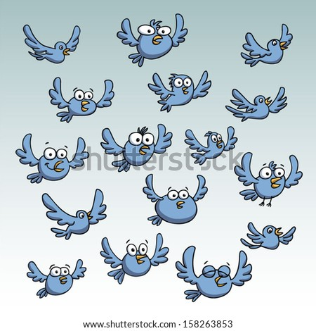 Group of birds flying. Vector illustration. - stock vector