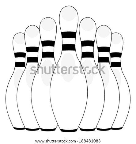 Group of bowling pins at the end of a bowling alley, skittles. vector art image illustration, eps10, isolated on white background, outline - stock vector