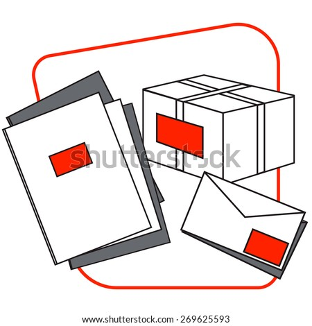 Group of box, envelopes and notebooks - stock vector